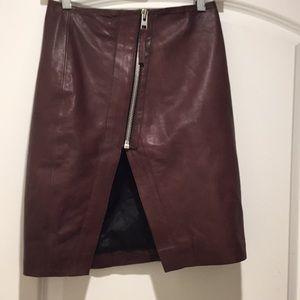 All saint cherry soft leather skirt V opening